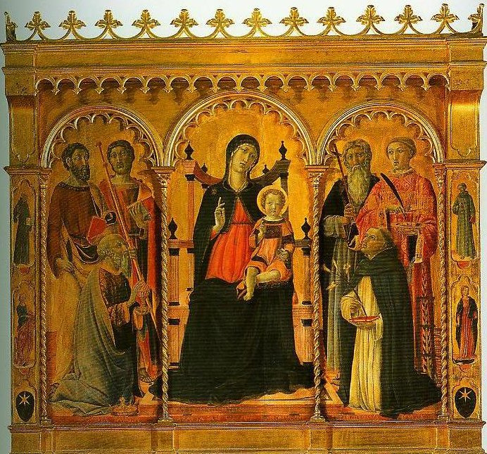 Madonna and Child Enthroned with SS Bartholomew James Eligius Andrew Lawrence and Dominic | Vecchietta | Oil Painting