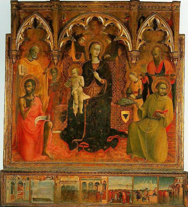 Madonna and Child Enthroned with Four Angels and SS John the Baptist Peter Francis and Paul | Sassetta | Oil Painting