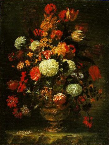 A Vase Decorated in Brouze with Roses Anemones and Narcissi | Lorenzo Todini | Oil Painting