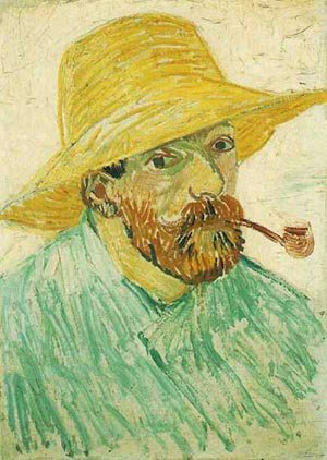 Self Portrait With Pipe And Straw Hat 1888 | Vincent Van Gogh | oil painting