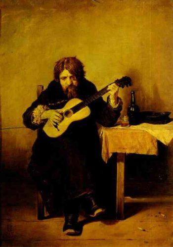 Solitary Guitarist 1865   Vasily Perov   oil painting