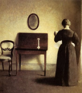 A Lady Reading In An Interior | Vilhelm Hammershoi | oil painting