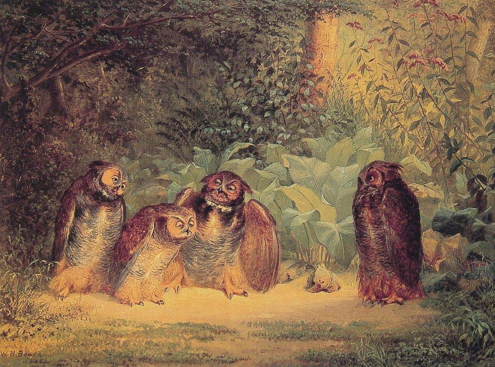 Owls   William Holbrook Beard   oil painting