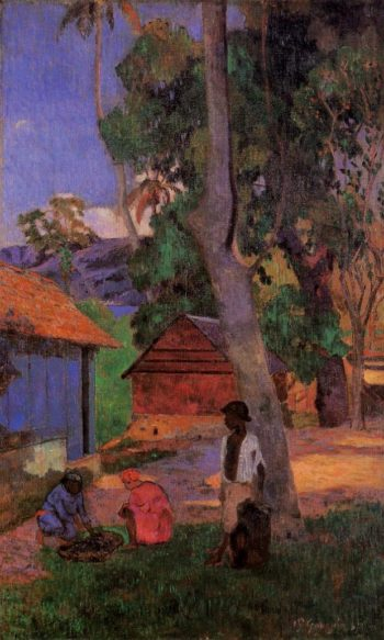 Around the Huts 1877 | Paul Gauguin | oil painting