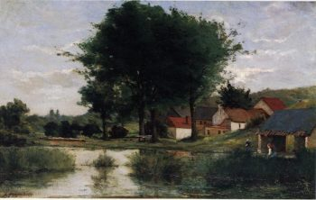 Autumn Landscape (aka Farm and Pond) 1877 | Paul Gauguin | oil painting