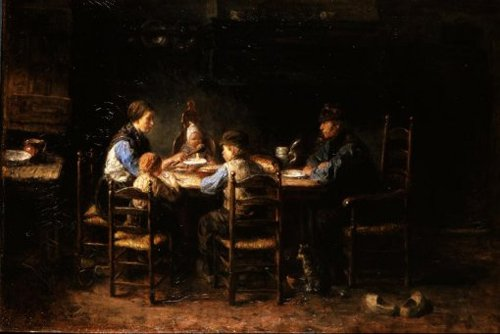 A Peasant Family at the Table 1882   Jozef Israels   oil painting