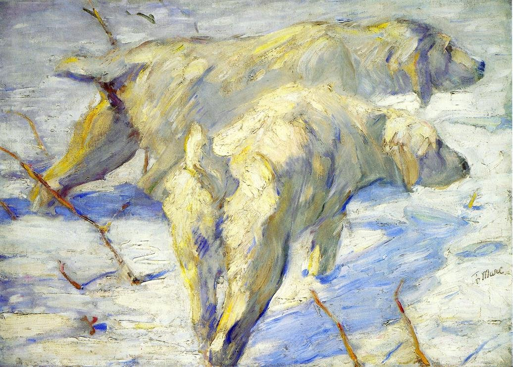 Siberian Sheepdogs aka Siberian Dogs in the Snow 1909 1910 | Franz Marc | oil painting