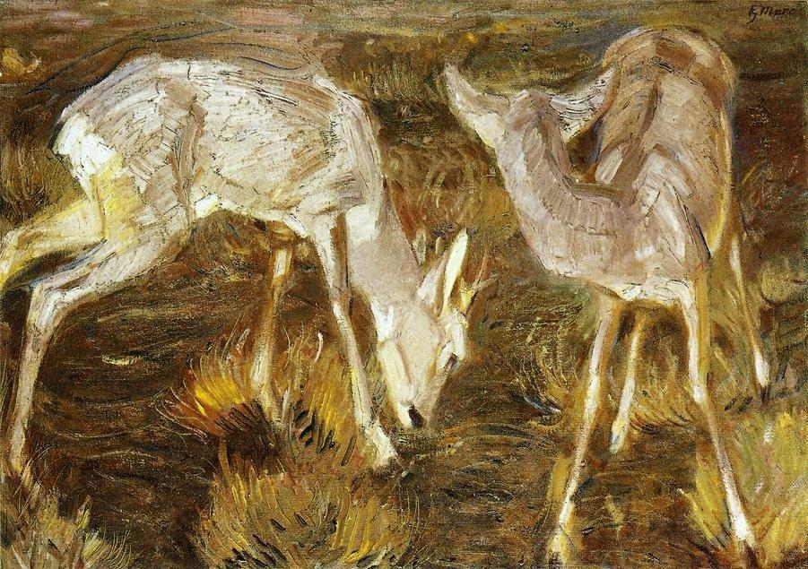 Deer at Dusk 1909 | Franz Marc | oil painting