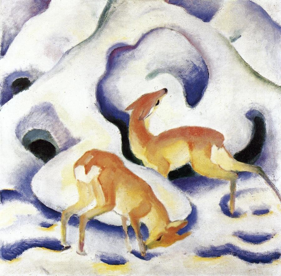 Deer in the Snow 1911 | Franz Marc | oil painting