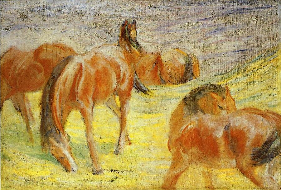 Grazing Horses 1910 | Franz Marc | oil painting