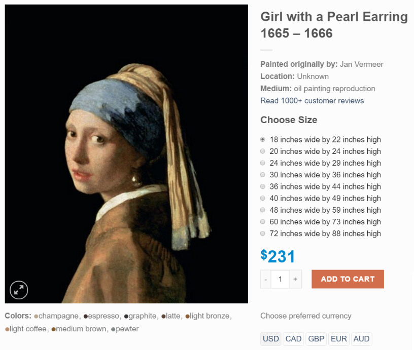 Large Girl With A Pearl Earring Painting