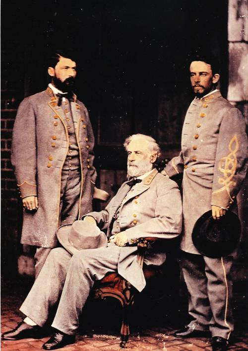 Robert E Lee With Two Officers 1865 | Mathew Brady | oil painting