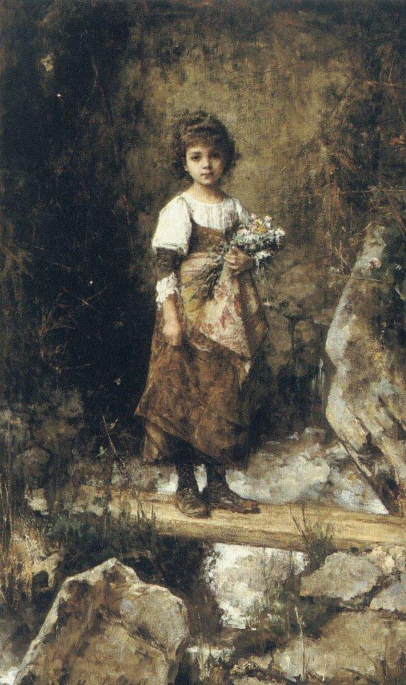 A Peasant Girl on a Footbridge | Alexei Alexeivich Harlamoff | oil painting