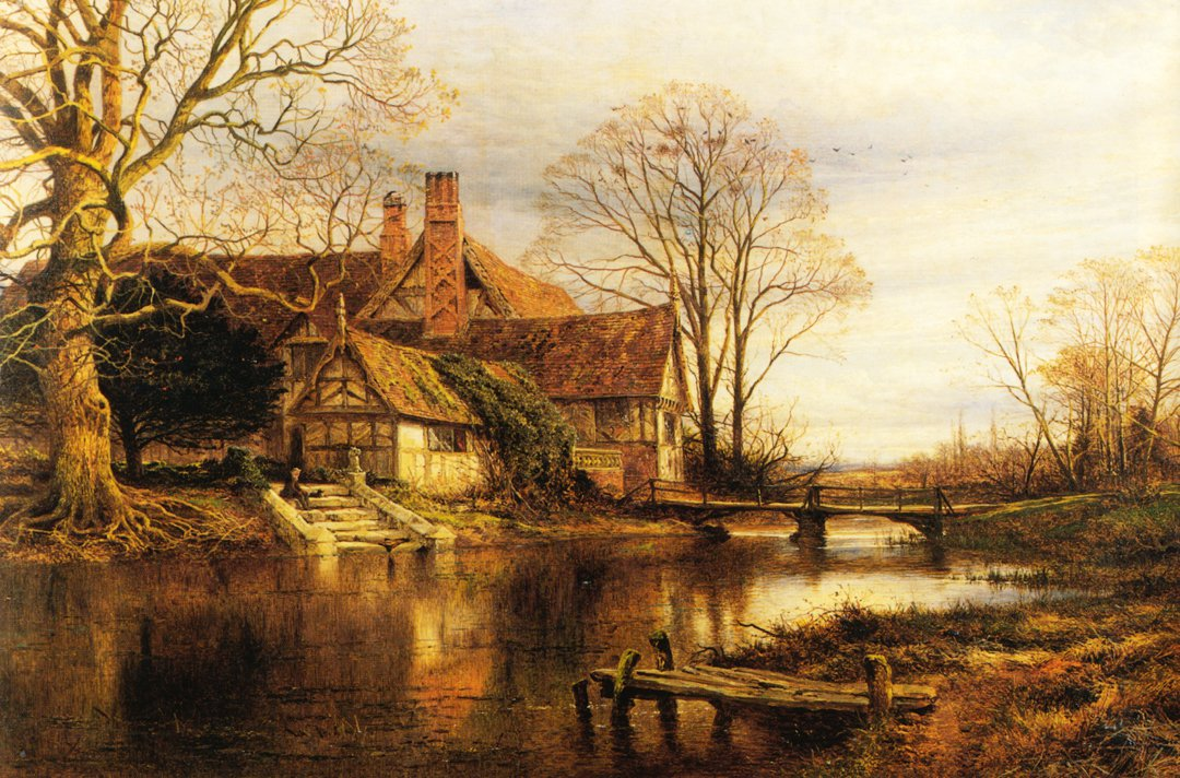 A Moated Grange 1868 | Benjamin Leader | oil painting