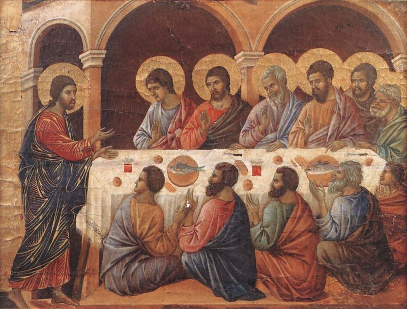 Appearence While the Apostles are at Table | Duccio di buoninsegna | oil painting