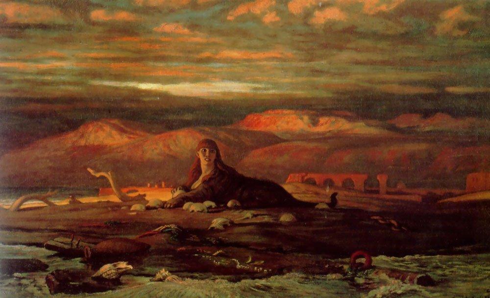 The Sphinx of the Seashore 1879 1880   Elihu Vedder   oil painting