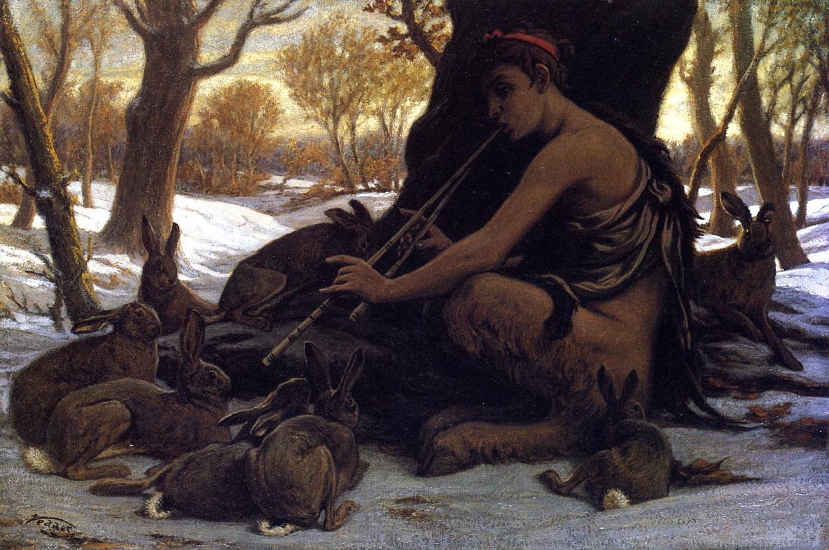 Marsyas Enchanting the Hares 1899   Elihu Vedder   oil painting