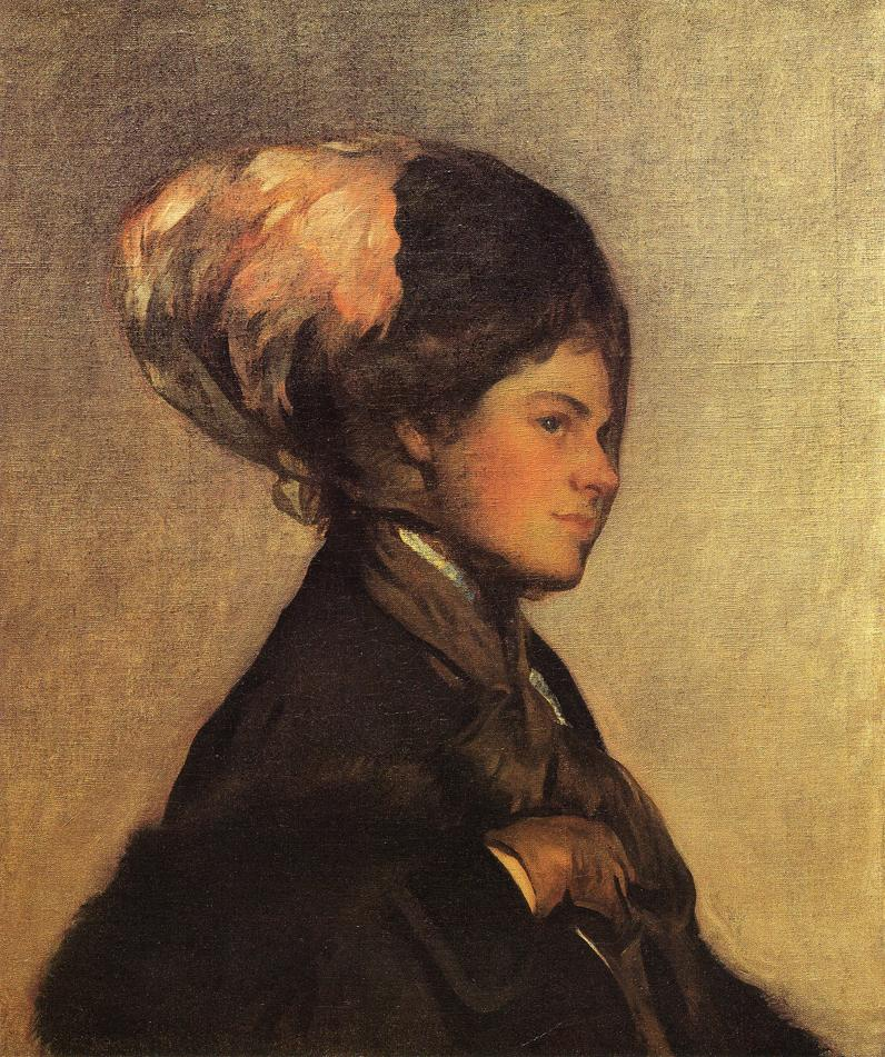 The Pink Feather aka The Brown Veil 1908 | Joseph deCamp | oil painting