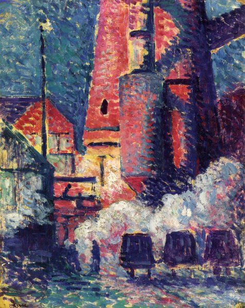 Tall Furnaces 1896 | Maximilien Luce | oil painting