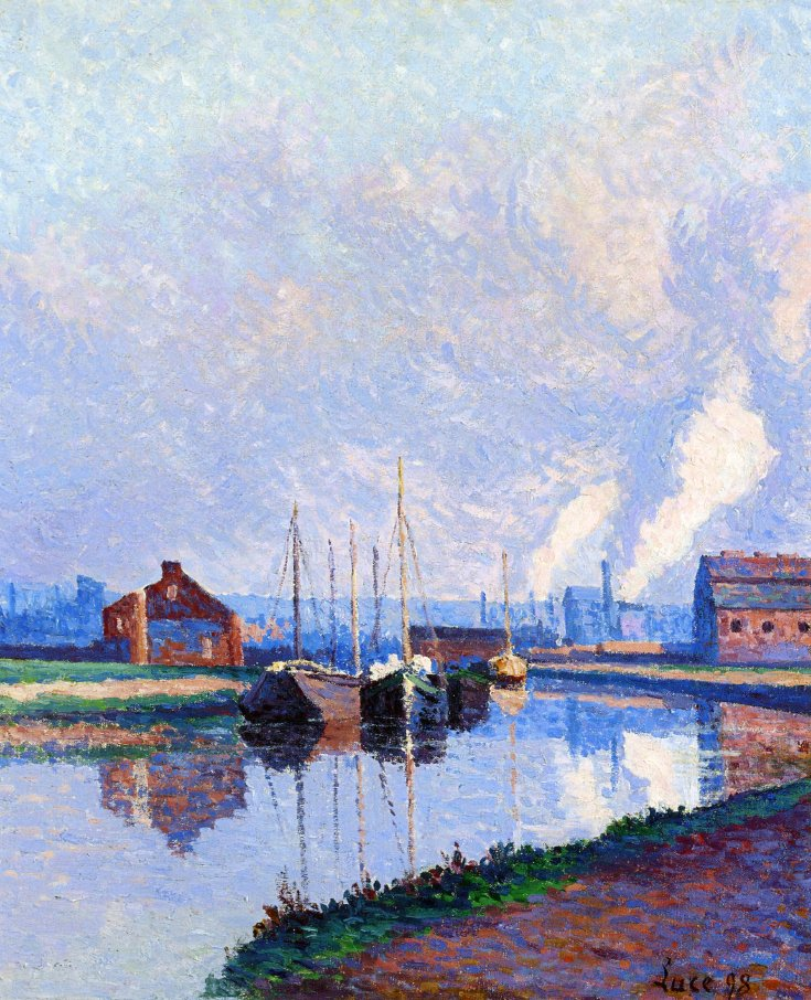 Charleroi Barges on the Sambre 1898 | Maximilien Luce | oil painting