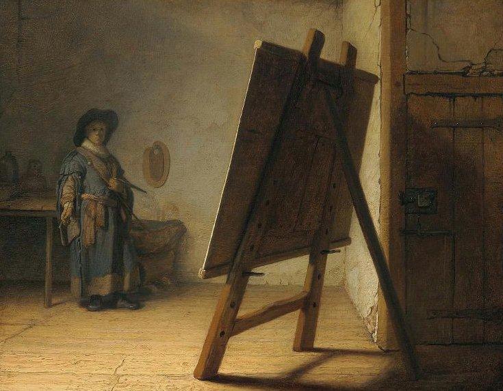 Artist in His Studio 1628 | Rembrandt Harmensz van Rijn | oil painting