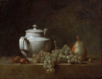 Still Life with Teapot Grapes Chestnuts and a Pear | Jean Simeon Chardin | oil painting