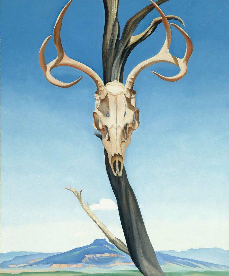 Deers Skull with Pedernal 1936   Georgia O Keeffe   oil painting