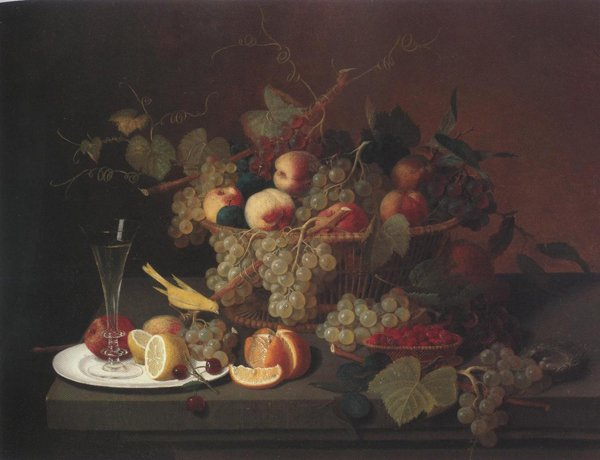 Still Life With Fruit Goblet And Canary(Nature's Bounty) 1851 | Severin Roesen | oil painting