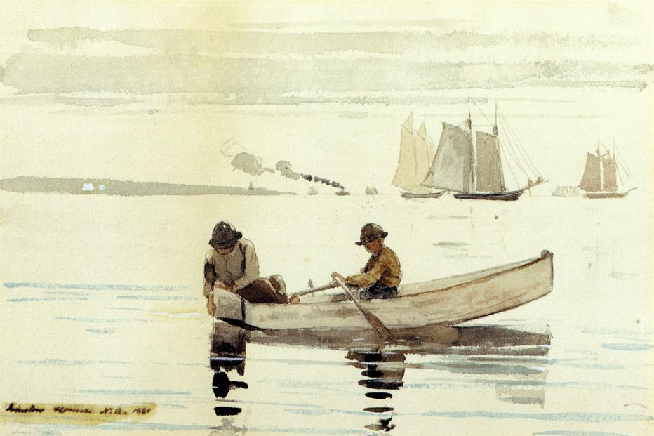Boys Fishing Gloucester Harbor | Winslow Homer | oil painting