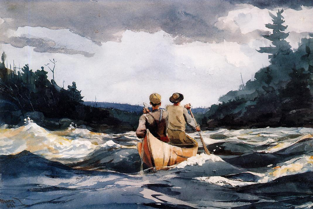 Canoe in the Rapids | Winslow Homer | oil painting