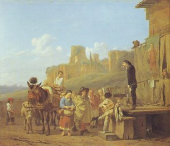 A Party Of Charlatans In An Italian Landscape | Karel Dujardin | oil painting
