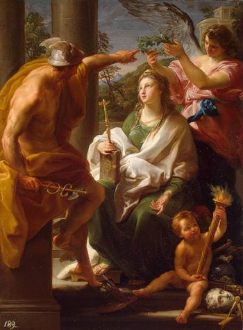 Mercury Crowning Philosophy-Mother-of the Arts 1747 | Batoni Pompeo | oil painting