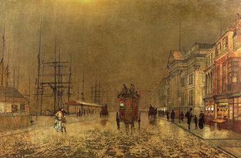A Liverpool Street | John Atkinson Grimshaw | oil painting