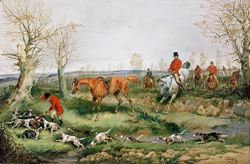 English Fox Hunting Oil Painting