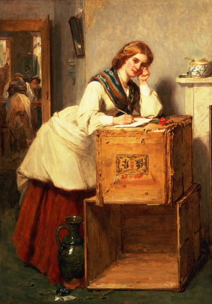 Lady Writing a Letter Painting Thomas Faed