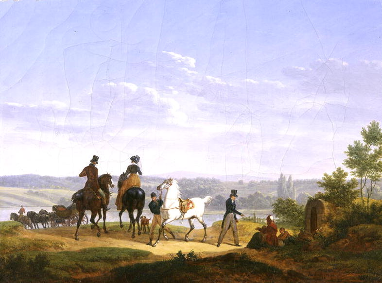 Landscape with Figures and Horses | Bernard Edouard Swebach | oil painting