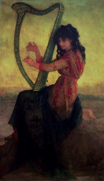 Muse Playing the Harp | Antoine Auguste Ernest Herbert or Hebert | oil painting
