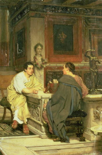 The Discourse A Chat   Sir Lawrence Alma Tadema   oil painting