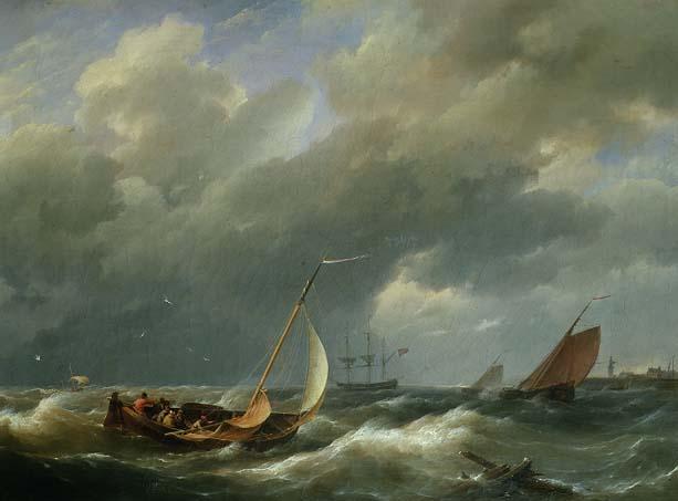 Shipping off a Dutch port   Hermanus Koekkoek   oil painting