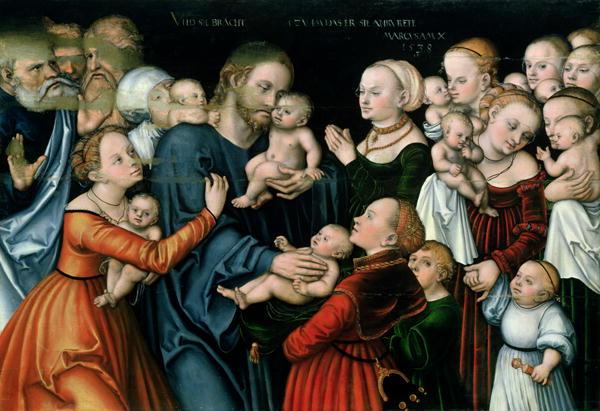 Suffer the Little Children to Come Unto Me 1538   Lucas the Elder Cranach   oil painting