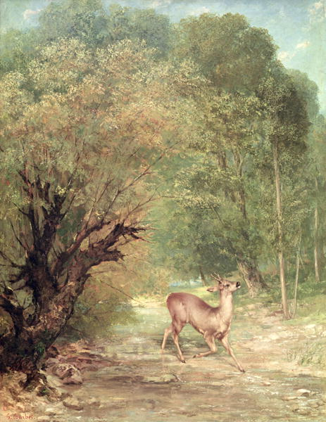 The Hunted Roe Deer on the alert Spring 1867 | Gustave Courbet | oil painting
