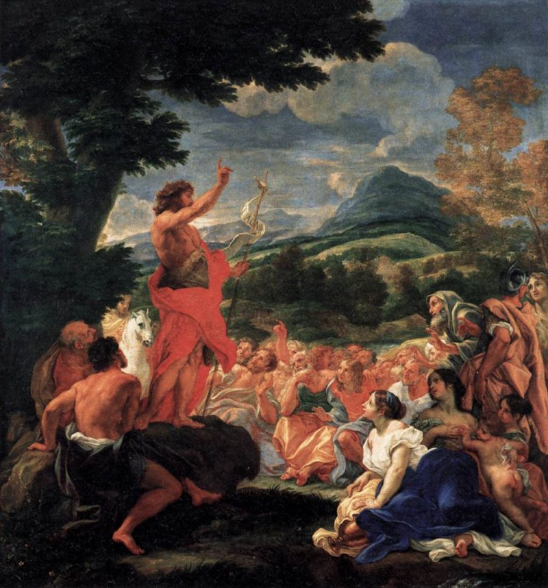 The Preaching of St John the Baptist 1690   Baciccio   oil painting