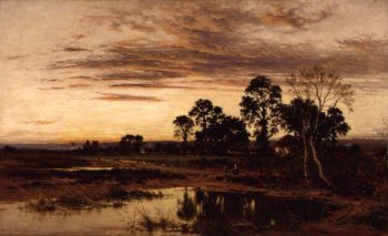 When Sun is Set A Worcestershire Village 1892 | Benjamin William Leader | oil painting