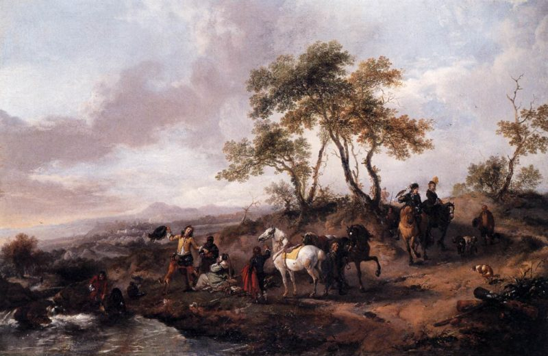 Halt of a Hunting Party 1665   Philips Wouwerman   oil painting
