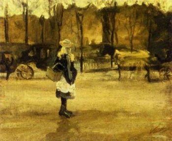A Girl in the Street Two Coaches in the Background | Vincent Van Gogh | oil painting