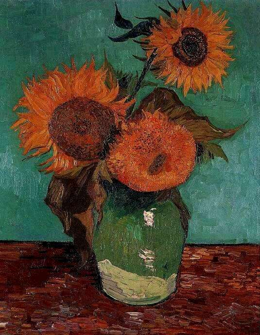 Three Sunflowers In A Vase Painting Vincent Van Gogh Oil Paintings