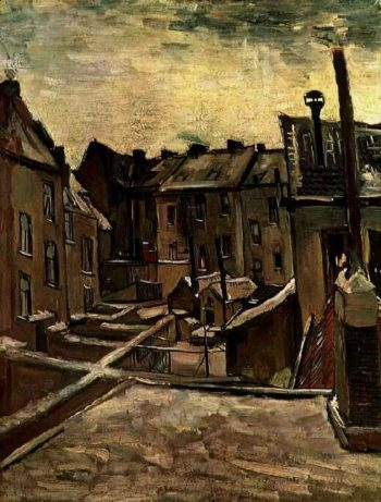 Backyards of Old Houses in Antwerp in the Snow | Vincent Van Gogh | oil painting