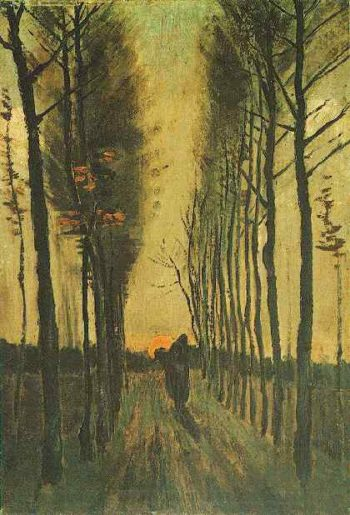 Avenue of Poplars at Sunset | Vincent Van Gogh | oil painting