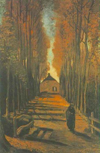 Avenue of Poplars in Autumn | Vincent Van Gogh | oil painting
