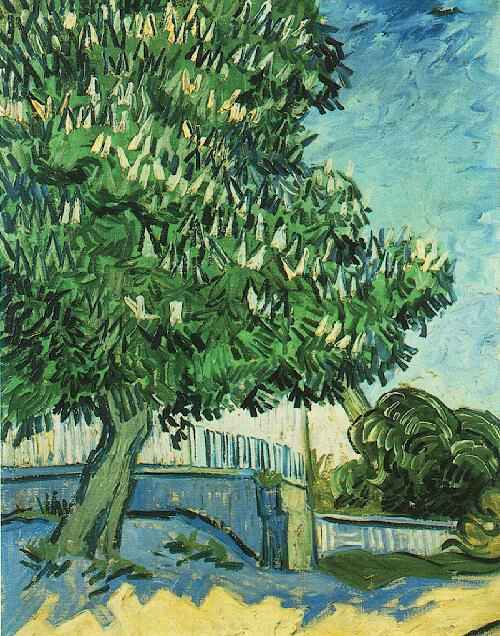Chestnut tree in blossom painting vincent van gogh oil for Van gogh paintings locations